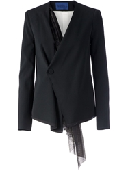 Sharon Wauchob Wrap Hanging Lace Detail Blazer Black