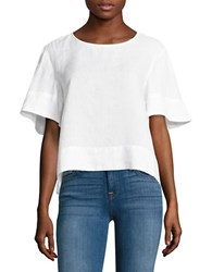 Lord And Taylor Linen Flutter Sleeve Tee White