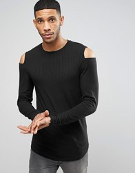 Asos Longline Muscle Long Sleeve T Shirt In Rib With Sleeve Cut Out Black