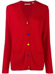Chinti And Parker Contrast Elbow Patch Cardigan Red