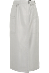 Wes Gordon Herringbone Silk And Wool Blend Wrap Midi Skirt