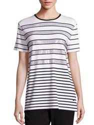 St. John Sport Collection Sequin Striped Tee Bianco Caviar