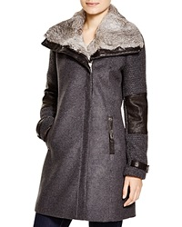 Andrew Marc New York Andrew Marc Mara Fur Trim Mixed Media Coat Charcoal