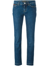 Dolce And Gabbana Embroidered Crown Bee Jeans Blue