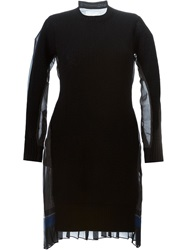 Sacai Contrasting Pleated Back Sweater Dress Black