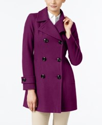Anne Klein Long Peacoat Only At Macy's Magenta