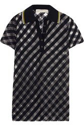 Stella Mccartney Striped Tulle Polo Shirt Midnight Blue