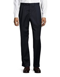 Lauren Ralph Lauren Pleated Wool Dress Pants Navy