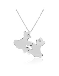 Forzieri Diamond And 18K Gold Teddy Bears Pendant Necklace White Gold