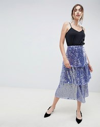 Asos Design Tiered Sequin Midi Skirt Blue