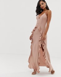 The Jetset Diaries Light My Fire Ruffle Maxi Dress Pink