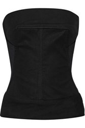 Rick Owens Drkshdw By Woman Strapless Tulle Paneled Cotton Blend Canvas Bustier Top Black