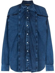 Y Project Oversized Panelled Denim Shirt Blue