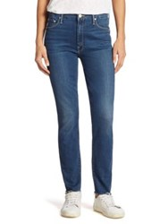 Mother Looker High Rise Frayed Ankle Skinny Jeans Faster