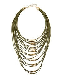 Fragments For Neiman Marcus Multi Strand Cord Statement Necklace Olive