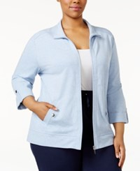 Karen Scott Plus Size Lounge Jacket Only At Macy's Light Blue Heather