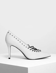 Charles And Keith Lacing Detail Pumps White