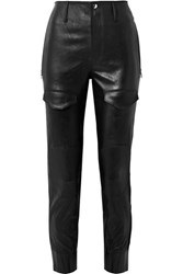 Rta Harlan Leather Tapered Pants Black