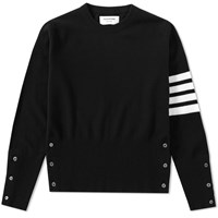 Thom Browne Cashmere Arm Stripe Short Crew Knit Black