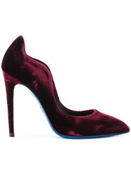 Loriblu Velvet Stiletto Pumps Leather Velvet Rubber Pink Purple
