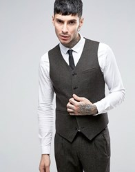 Asos Slim Wool Rich Waistcoat In Charcoal And Khaki Twist Charcoal Khaki Green