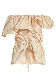 Christophe Lemaire Ruffled Cotton Top Nude
