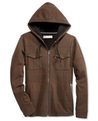 Levi's Men's Hanks Plaid Hooded Sweatshirt With Faux Sherpa Lining Brown