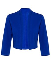 Quiz Royal Blue 3 4 Sleeve Crop Jacket