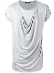 Unconditional Draped Front Layered T Shirt Grey