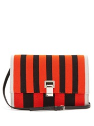 Proenza Schouler Lunch Striped Leather Small Cross Body Bag Black Red