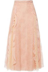 Red Valentino Redvalentino Woman Flared Ruffle Trimmed Corded Lace Midi Skirt Blush