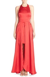 Women's Betsy And Adam Halter Satin Ballgown Red