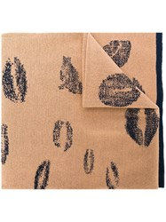 Sonia Rykiel Lip Print Scarf Nude And Neutrals