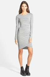 Women's Leith Ruched Long Sleeve Dress Grey Medium Heather