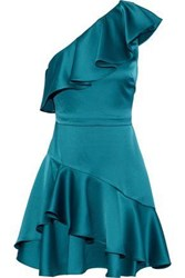 Halston One Shoulder Ruffled Satin Mini Dress Teal