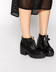 Truffle Collection Buckle Platform Ankle Boots Black
