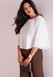 Missguided Plus Size Flared Crop Top White White