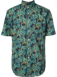 Gitman Brothers Vintage Palm Print Shirt Blue