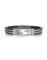 Forzieri Men's Rubber And Stainless Steel Strand Bracelet Silver