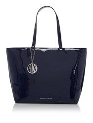 Armani Exchange Patent Zip Top Shopper Tote Blue