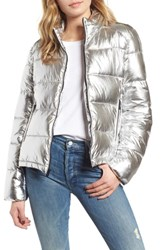 Marc New York Metallic Puffer Jacket Silver