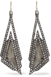 Alexis Bittar Gold And Gunmetal Tone Crystal Earrings One Size