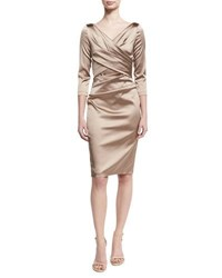 Talbot Runhof Movie Satin 3 4 Sleeve Sheath Cocktail Dress Beige