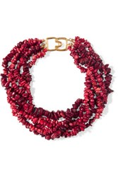 Kenneth Jay Lane Beaded Resin Necklace Burgundy