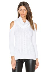 Haute Hippie Cold Shoulder Turtleneck Sweater White