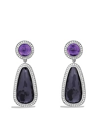 David Yurman Cerise Double Drop Earrings With Black Orchid Amethyst And Diamonds Silver Purple