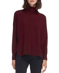 Whistles Horizontal Ribbed Knit Cashmere Turtleneck Sweater Red
