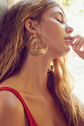 Urban Outfitters Etched Cherry Statement Hoop Earring Gold