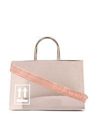 Off White Sculpture Mirrored Tote Bag Gold
