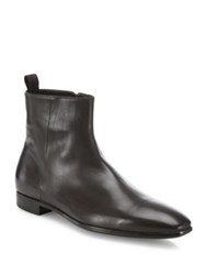 Giorgio Armani Side Zip Calf Leather Ankle Boots Dark Brown